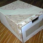 空き箱のナチュラル系リメイク4 段ボールの性質利用で引き出し補強。そして完成。